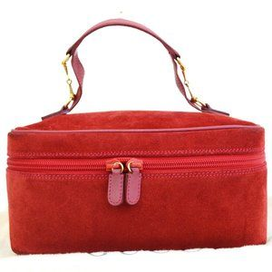 GUCCI Logos Vanity Bag Suede Skin Leather Red Made